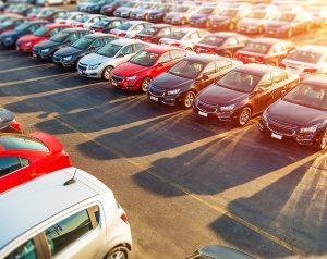 A car lot in the sunshine