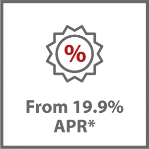 A percentage sign in a merit badge with the text from 19.9 percent APR underneath