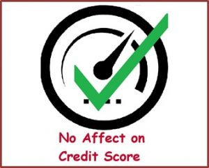 A score gauge with a green tick through it with red text underneath saying no affect on credit score