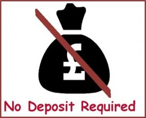A black money bag with a red line through it and the text saying no deposit required underneath