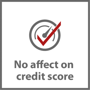 A score-o-meter with a red tick to show that there is no affect on your credit score